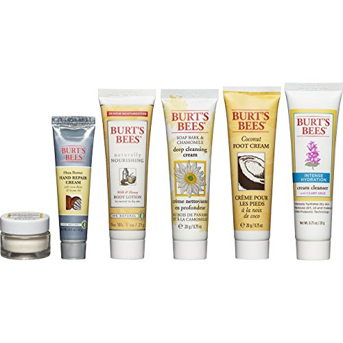 Burt's Bees Fabulous Mini's Travel Set, 6 Travel Size Products – Cream Cleanser, Day Lotion, Deep Cleansing Cream, Body Lotion, Foot Cream and Hand Repair Cream