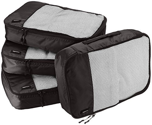 AmazonBasics 4 Piece Packing Travel Organizer Cubes Set – Medium, Black