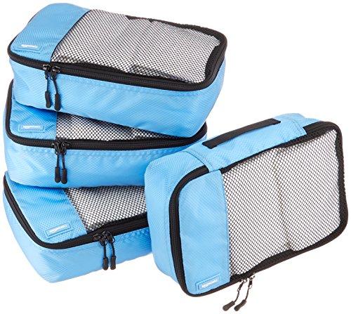 AmazonBasics 4 Piece Small Packing Travel Organizer Cubes Set – Sky Blue