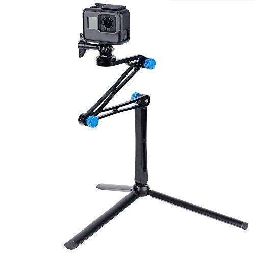 Smatree 3 Way Foldable Pole/Monopod for GoPro Hero Fusion/8/7/6/5/4/3 Plus/3/Session/GoPro Hero 2018,Logitech Webcam C925e C922x,DJI OSMO