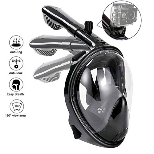 HOTINS Full Face Snorkel Mask 180°Panoramic View Foldable Tube Snorkeling Mask with Detachable Camera Mount Anti-Fog Anti-Leak Easybreath Scuba Gear for Youth & Adult Swimming Diving S/M