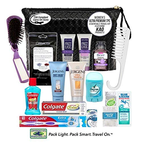 Convenience Kits International, Women's Premium 17-Piece Assembled Travel Kit Featuring: John Frieda's Frizz Ease, Jergens and Biore Products in Reusable Bag