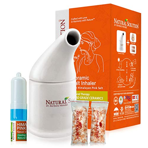 Natural Solution Organic Personal Care Travel Gift Set 2 Items | Nasal Inhaler and Ceramic Salt Inhaler