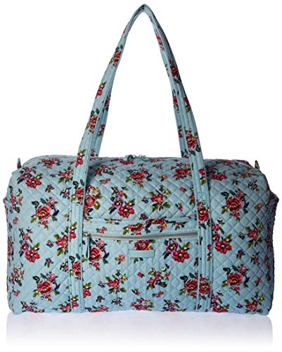 Vera Bradley Iconic Large Travel Duffel, Signature Cotton, Water Bouquet, water bouquet, One Size