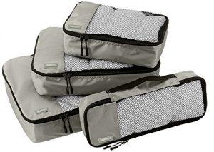 AmazonBasics 4 Piece Packing Travel Organizer Cubes Set – Grey