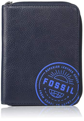 Fossil Men's Zip Passport Case ,Midnight Navy,6″L x 0.75″W x 4.5″H
