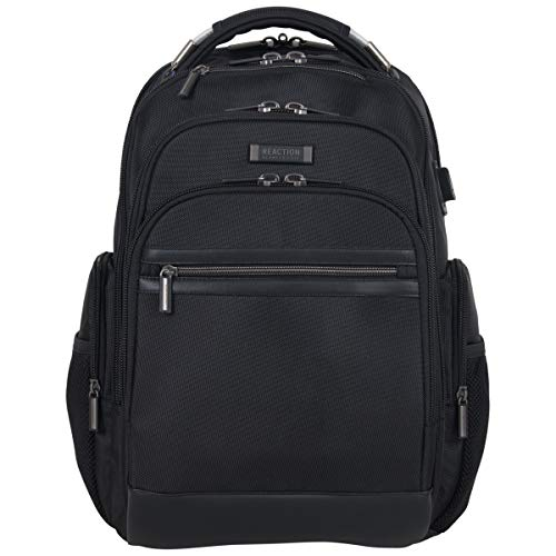 Kenneth Cole Reaction Brooklyn Triple Compartment Anti-Theft RFID 17″ Laptop Business Backpack W/ USB Charging Port, Black