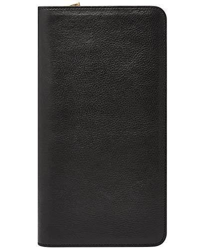 Fossil Leather Passport Case, Multi Zip Passport – Black