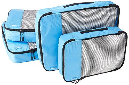 AmazonBasics 4 Piece Packing Travel Organizer Cubes Set – 2 Medium and 2 Large, Sky Blue