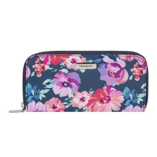 Travelon RFID Blocking Single Zip Wallet, blossom Floral