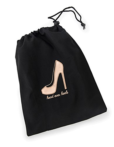 """Miamica Women's Head Over Heels"""" Travel Shoe Bag Packing Organizers, Black/Rose Gold"""