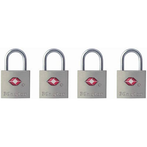 Master Lock Padlock, Keyed TSA-Accepted Luggage Lock, 7/8 in. Wide, 4683Q (Pack of 4)