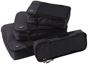 AmazonBasics 4 Piece Packing Travel Organizer Cubes Set – Black
