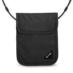 Pacsafe Coversafe X75 Anti-Theft RFID Blocking Neck Pouch, Black
