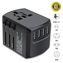 travel adapter universal plug adapter for worldwide travel international power adapter plug converter with 4 usb ports all in one wall charger ac socket for european uk aus asia cell phone laptop 250x250 - The Ultimate Travel Packing Checklist