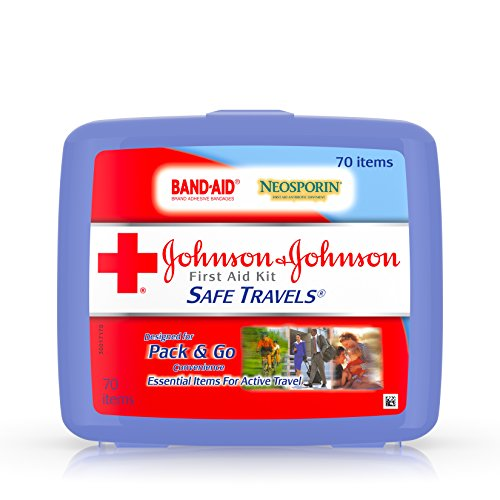Johnson & Johnson Brand Safe Travels Portable First Aid Kit for Minor Wound Care with Assorted Adhesive Bandages, Ideal for Travel, Car & On-the-Go, 70 pieces