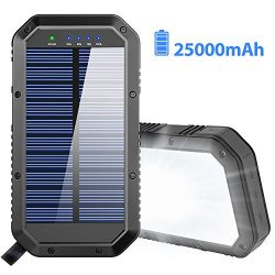 solar charger 25000mah battery solar power bank portable panel charger with 36 leds and 3 usb output ports external backup battery for camping outdoor for ios android 250x250 - The Ultimate Travel Packing Checklist