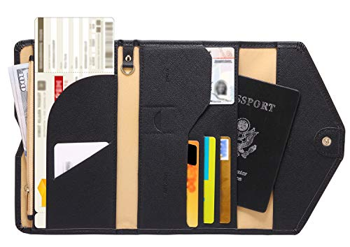 Zoppen Multi-purpose Rfid Blocking Travel Passport Wallet (Ver.4) Tri-fold Document Organizer Holder, 1 Black