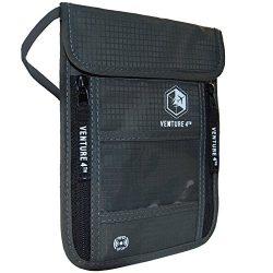 Venture 4th Travel Neck Pouch With RFID Blocking – Travel Wallet Passport Holder (Grey)