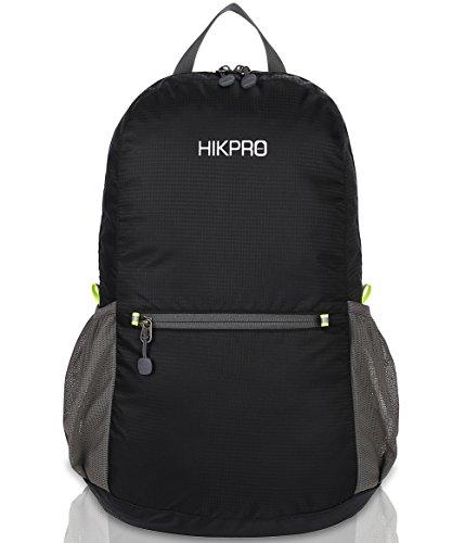 HIKPRO Unisex Ultralight Handy Packable Backpack, Black, 6.5 Oz