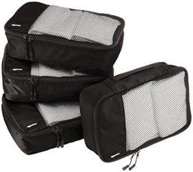 AmazonBasics 4 Piece Small Packing Travel Organizer Cubes Set – Black
