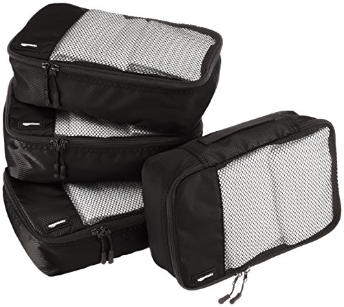 AmazonBasics 4 Piece Small Packing Travel Organizer Cubes Set – Black