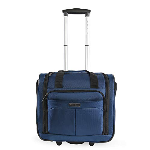 Perry Ellis Men's Excess 9-Pocket Underseat Rolling Tote Carry-on Bag Travel, Navy, One Size