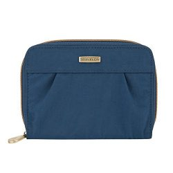 Travelon RFID Blocking Signature Pleated Passport Wallet, Ocean