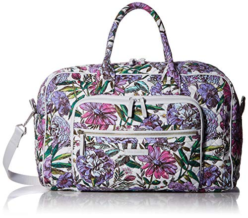 Vera Bradley Iconic Compact Weekender Travel Bag, Signature Cotton, Lavender Meadow