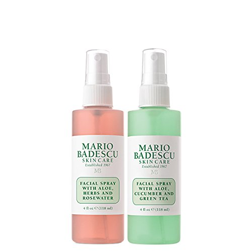 Mario Badescu Facial Spray with Rosewater & Facial Spray with Green Tea Duo, 4 Fl Oz (Pack of 2)