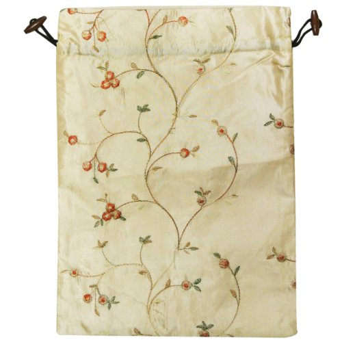 Wrapables Beautiful Embroidered Silk Travel Bag for Lingerie and Shoes, Beige