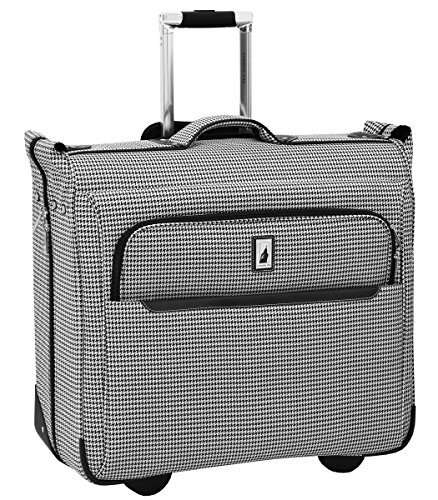 London Fog Cambridge II 44″ Wheeled Garment Bag, Black White Houndstooth