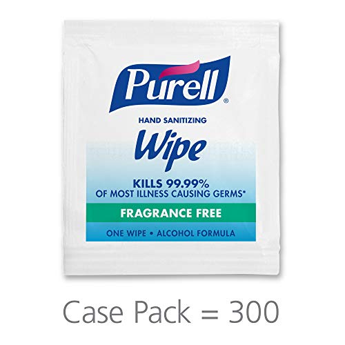 PURELL Hand Sanitizing Wipes, Alcohol Formula, Fragrance Free, 300 Count Individually Wrapped Hand Wipes – 9020-06-EC