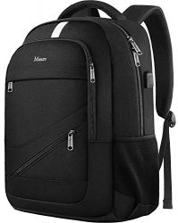 College Laptop Backpack,Durable School Bookbags for Men Women with USB Charging Port, Mancro Business Travel Anti Theft RFID Water Resistant Backpack Fits 15.6 Inch Laptop and Notebook, Black