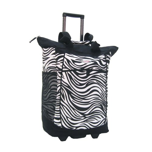 Olympia Fashion Rolling Shopper Tote – Zebra Black, 2300 cu. in.