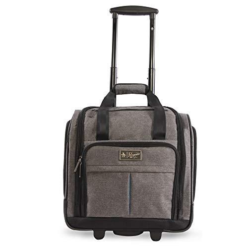 ORIGINAL PENGUIN Men's Ethan Wheeled Under The Seat Carry On Bag, Grey Crosshatch