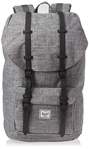 Herschel Little America Flapover Backpack, Raven Crosshatch/Black, Classic 25L