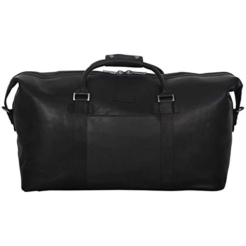 Kenneth Cole Reaction I Beg to Duff-er' Full-Grain Colombian Leather Top Zip 20″ Carry-On Duffel Travel Bag, Black