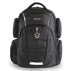 Perry Ellis Men's 9-Pocket Professional Laptop Backpack-P350 Business Backpack, Black, One Size
