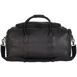 Kenneth Cole Reaction Duff Guy Colombian Leather 20″ Single Compartment Top Load Travel Duffel Bag, Black
