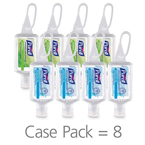 PURELL Advanced Hand Sanitizer Variety Pack, Naturals and Refreshing Gel, 1 fl oz portable flip-cap bottle with JELLY WRAP Carrier (Pack of 8) – 3900-09-ECSC