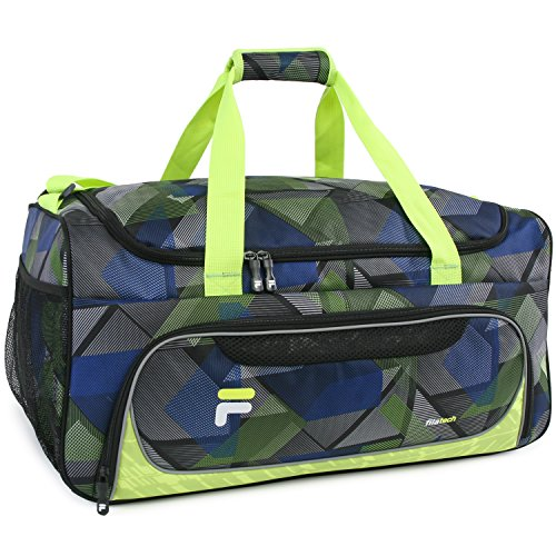 Fila Energy Md Travel Gym Sport Duffel Bag, Abstract Neon