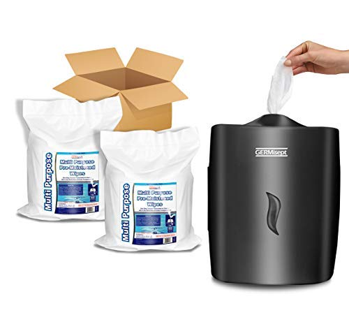 GERMISEPT WALL MOUNT DISPENSER + 2 800 CT ROLLS COMBO – Multipurpose Gym Wipes & Wellness Center Cleaning Wipes/Cart Wipes (Dispenser + 2 Rolls)
