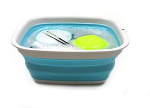 SAMMART 9.45L (2.5 Gallon) Collapsible Tub – Foldable Dish Tub – Portable Washing Basin – Space Saving Plastic Washtub (Bright Blue, M)