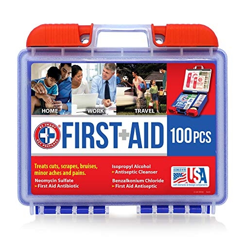 Be Smart Get Prepared 10HBC01082 100Piece First Aid Kit, Clean, Treat & Protect Most Injuries With The Kit that is great for Any Home, Office, Vehicle, Camping & Sports. 0.71 Lb