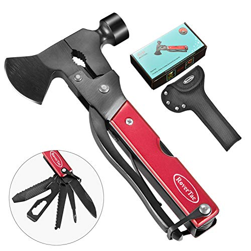 RoverTac Multitool Camping Tool Survival Gear Handy Gifts for Men Women UPGRADED 14 in 1 Stainless Steel Sturdy Multi Tool with Axe Hammer Knife Saw Plier Screwdrivers Bottle Opener Durable Sheath