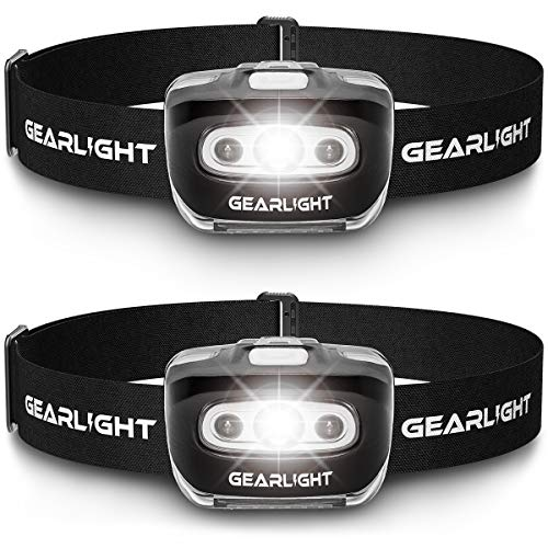 GearLight LED Headlamp Flashlight S500 [2 PACK] – Running, Camping, and Outdoor Headlamps – Best Head Lamp with Red Safety Light for Adults and Kids