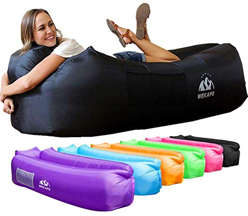 Wekapo Inflatable Lounger Air Sofa Hammock-Portable,Water Proof& Anti-Air Leaking Design-Ideal Couch for Backyard Lakeside Beach Traveling Camping Picnics & Music Festivals (Black)
