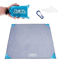 Travel Capsule Large Outdoor Pocket Blanket 55″x70″ – Perfect for Hiking, Camping, Outdoor Sporting Events, picnics and More! Stakes and Carabiner Included. Perfect for Quarantine HANGOUTS!