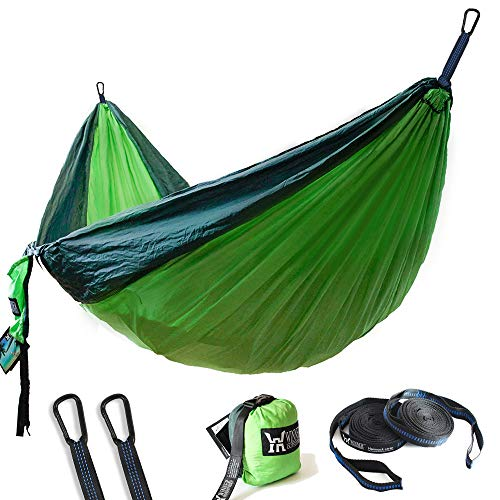 WINNER OUTFITTERS Double Camping Hammock – Lightweight Nylon Portable Hammock, Best Parachute Double Hammock for Backpacking, Camping, Travel, Beach, Yard. 118″(L) x 78″(W), Dark Green/Green Color